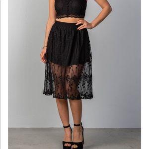 Dresses & Skirts - Arrived!!💕 Black Boho Lace Midi Skirt💕